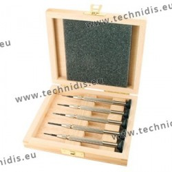 Set of screwdrivers with screw chuck and simple handle in wooden storage box