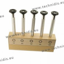 Set of nut wrenches on wooden stand