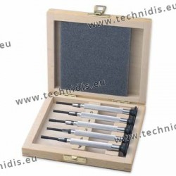 Set of nut wrenches on wooden case