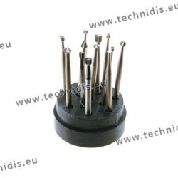 Set of 12 cutters in tool steel