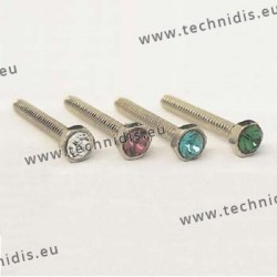 Screw with green stone inlay 1.16 x 2.3 x 10 - white