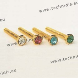 Screw with green stone inlay 1.16 x 2.3 x 10 - gold