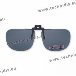 Polarized spring flip up glasses - metal mechanism - straight shape - grey