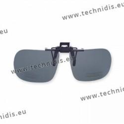 Polarized spring flip up glasses - plastic mechanism - straight shape - grey