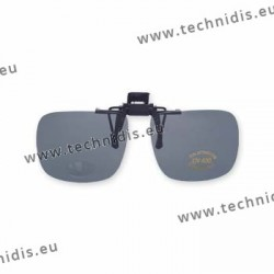 Polarized spring flip up glasses - plastic mechanism - medium size - grey