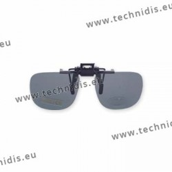 Polarized spring flip up glasses - plastic mechanism - small size - grey