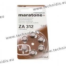 Piles pour appareils auditifs n° 312