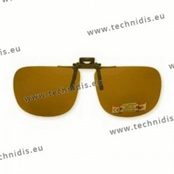 Polarized spring flip up glasses - metal mechanism - straight form - brown