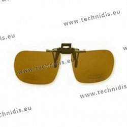 Polarized spring flip up glasses - plastic mechanism - straight shape - brown