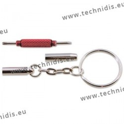 Pocket screwdriver - nickel plated with red ring