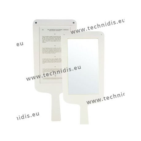 Hand held mirror, 1 mirror side, 1 reading side