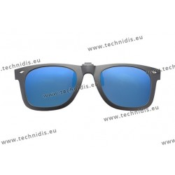 Polarized spring flip up glasses with frame - Mirror blue lenses
