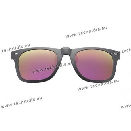 Polarized spring flip up glasses with frame - Mirror pink lenses